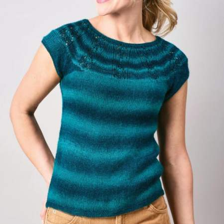 Easy Eyelet Yoke Top Knitting Pattern
