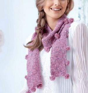 Learn to Knit A Pompom Scarf!