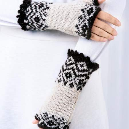 Fair Isle Fingerless Mittens Knitting Pattern