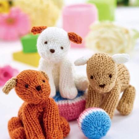 Easy Puppy Trio Knitting Pattern