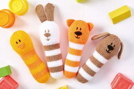 4 Animal Baby Rattles Knitting Pattern