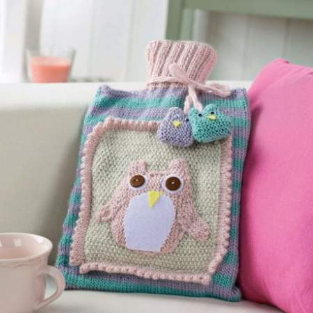 Owl Hot Water Bottle Cover Knitting Pattern