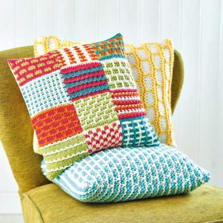 Patchwork Slip Stitch Sampler Cushion Knitting Pattern