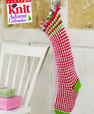Peppermint pinstripe crochet stocking