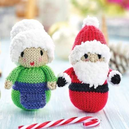 3 Quick Festive Toys: Santa, Mrs Claus and Robin Knitting Pattern