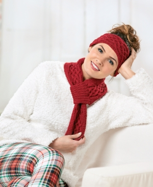 Cabled scarf and headband