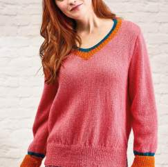 Simple V Neck Jumper Knitting Pattern