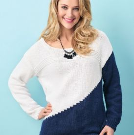Slant Pattern Colourblock Sweater