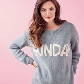Embroidered Sunday Slogan Sweater