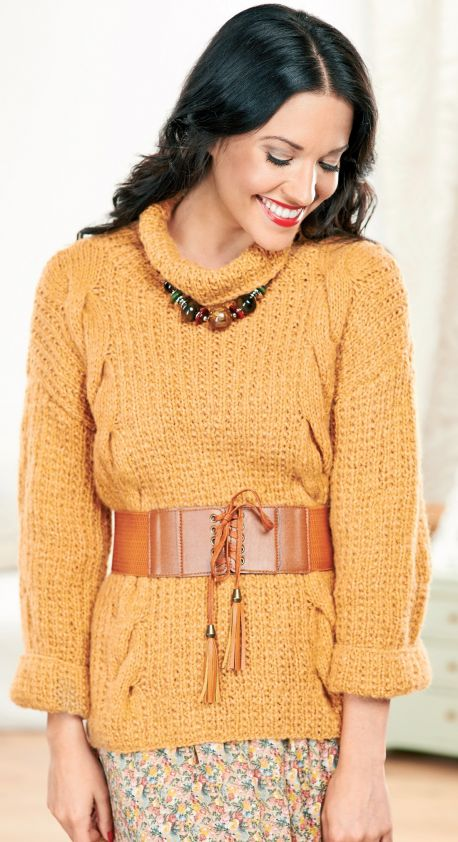 Cowl-neck cabled sweater