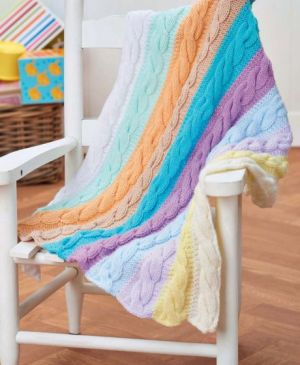 Cable Stripe Baby Blanket