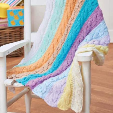 Cable Stripe Baby Blanket Knitting Pattern