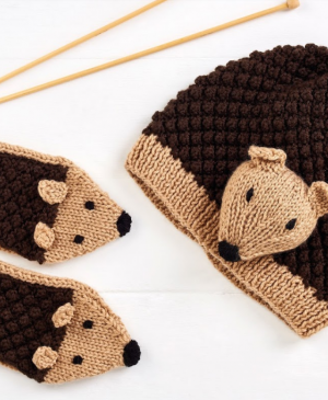 Child's Hedgehog Hat and Mittens