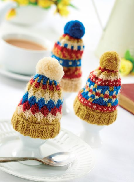 Traditional Tea and Egg Cosy Set With Pom-Poms!