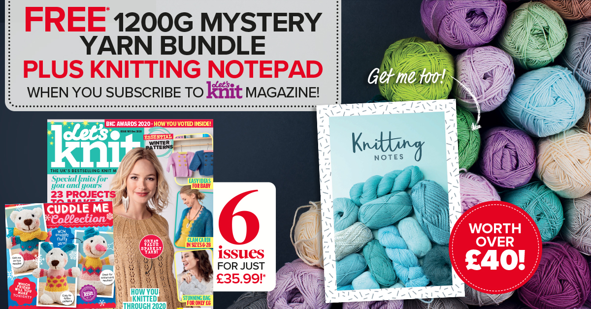 FREE* 1200g Mystery Yarn Bundle <br>PLUS Knitting Notepad